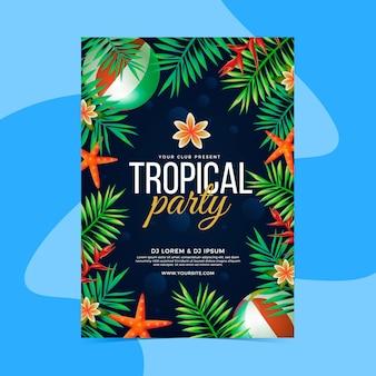Modèle d'affiche de fête tropicale