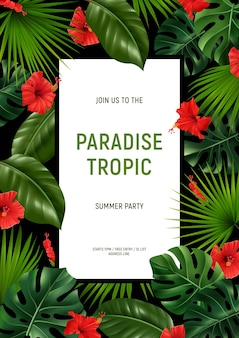 Modèle d'affiche de fête tropique paradisiaque réaliste