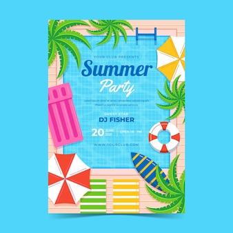 Modèle d'affiche de fête verticale d'été plat bio