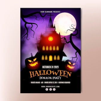 Modèle d'affiche de fête verticale halloween réaliste