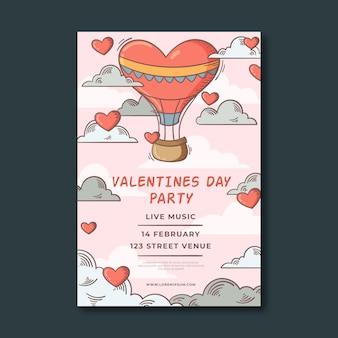 Modèle d'affiche de fête vintage valentines day