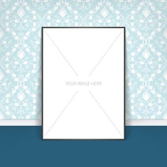 Modèle d'affiche d'une feuille de papier vierge dans le cadre