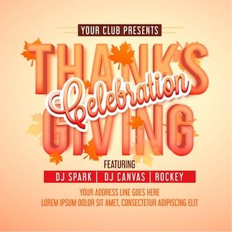 Modèle de l'affiche avec des feuilles pour thanksgiving célébration