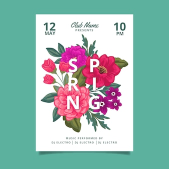 Modèle d'affiche florale de fête de printemps