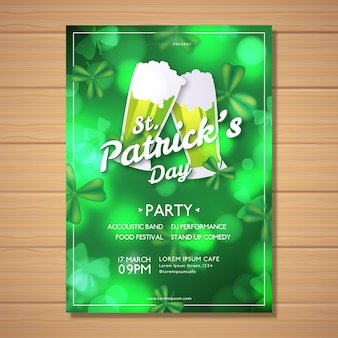 Modèle d'affiche floue st patricks day