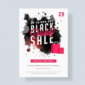 Modèle d'affiche ou de flyer black friday sale.