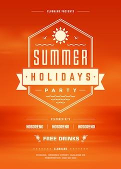 Modèle d'affiche ou de flyer de fête de la plage de vacances d'été