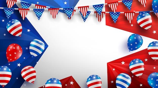 Modèle d'affiche de fond de vente pour la célébration de la fête du travail aux états-unis avec le drapeau, les étoiles et les outils de ballons américains.