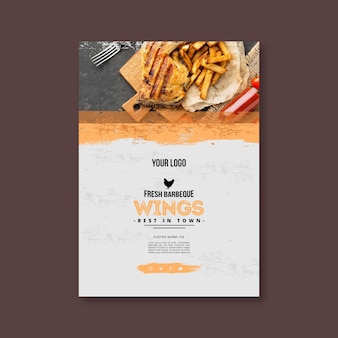 Modèle d'affiche de frites et barbecue