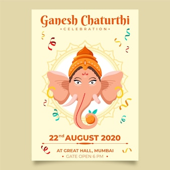 Modèle d'affiche ganesh chaturthi