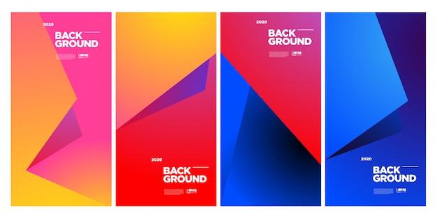 Modèle d'affiche géométrique coloré abstrait branché