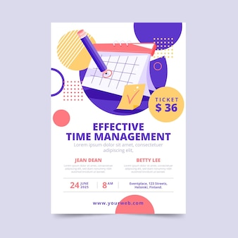 Modèle D'affiche De Gestion Du Temps Efficace Vecteur gratuit