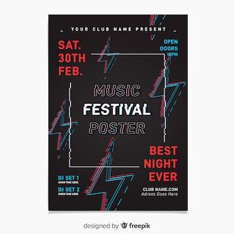 Modèle d'affiche glitch music festival