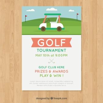 Modèle d'affiche de golf avec caddie