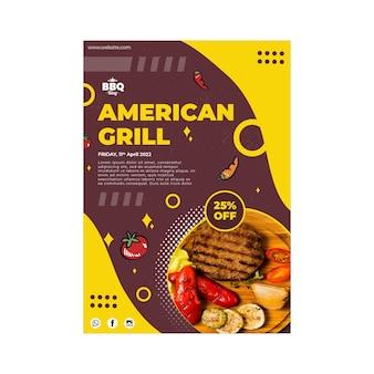 Modèle d'affiche de grill américain