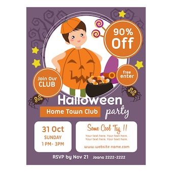 Modèle d'affiche d'halloween avec des enfants en costume citrouille