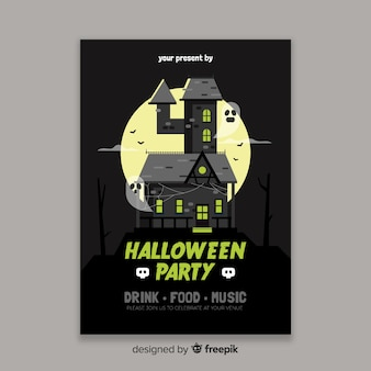 Modèle d'affiche halloween maison hantée