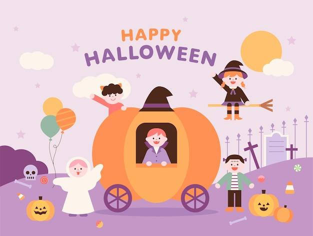 Modèle d'affiche d'halloween des personnages mignons d'halloween disent bonjour autour du chariot de citrouilles