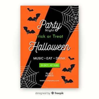 Modèle d'affiche halloween plat