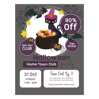 Modèle d'affiche d'halloween avec un pot de bonbons