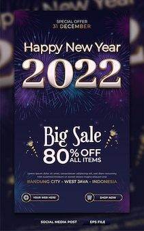 Modèle d'affiche ou d'histoire sur les médias sociaux pour la promotion de la vente du nouvel an