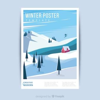 Modèle d'affiche hiver dessiné à la main