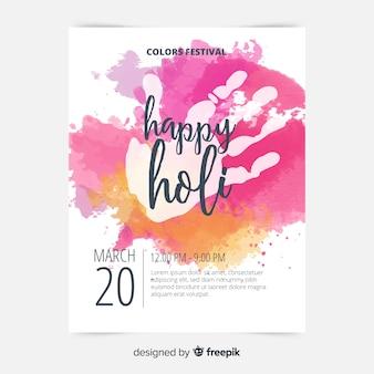 Modèle d'affiche holi handprint