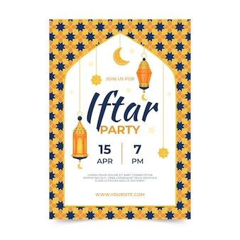Modèle d'affiche iftar dessiné à la main