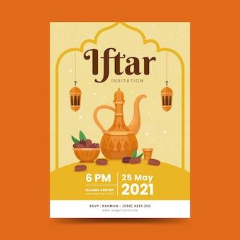 Modèle d'affiche iftar. fond de ramadan kareem avec mandala élégant, lanterne, dates et théière
