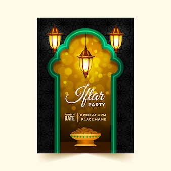 Modèle d'affiche iftar réaliste