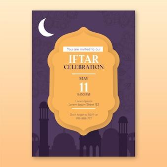 Modèle d'affiche iftar vertical dessiné à la main