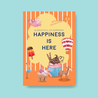 Modèle d'affiche avec illustration aquarelle de concept animaux heureux