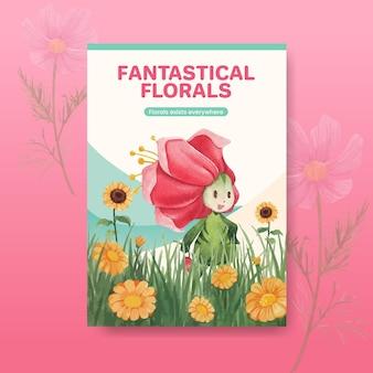 Modèle d'affiche avec illustration aquarelle de concept de caractère floral