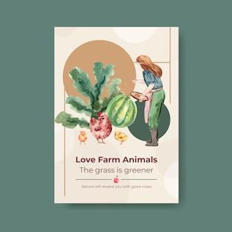 Modèle d'affiche avec illustration aquarelle de conception de concept biologique de ferme.