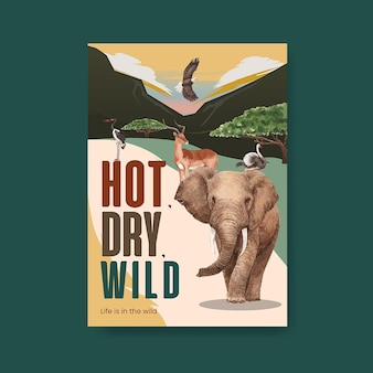 Modèle d'affiche avec illustration aquarelle de savane faune concept