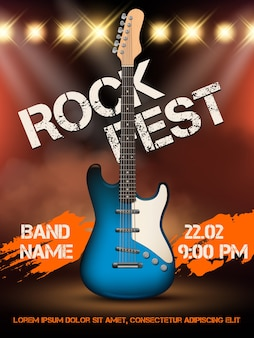 Modèle d'affiche illustration réaliste guitare musique rock. illustration musique rock événement, festival musical de guitare
