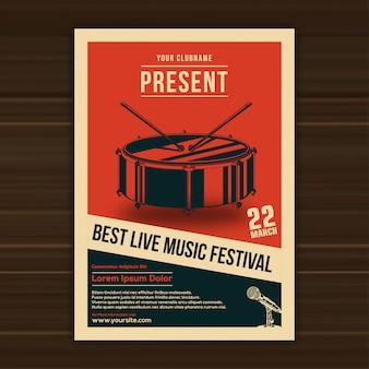 Modèle d'affiche de illustration vectorielle du festival de musique