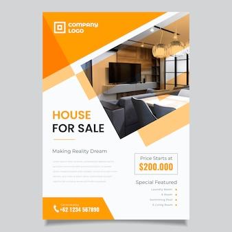 Modèle d'affiche immobilier design plat avec photo