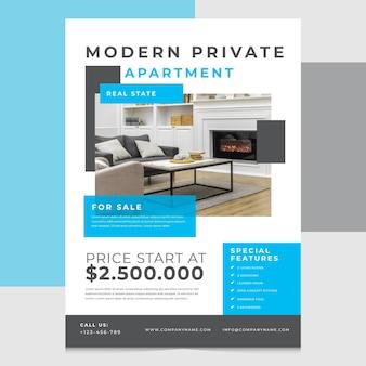 Modèle d'affiche immobilier plat avec photo
