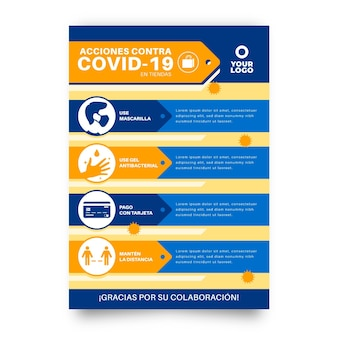 Modèle d'affiche informatif sur le coronavirus
