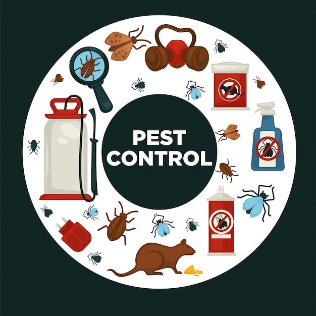 Modèle d'affiche d'information sur les sociétés de services de lutte contre les parasites ou de neutralisation pour la désinfection domestique à des fins sanitaires.