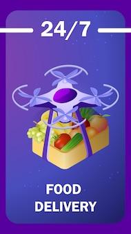 Modèle d'affiche isométrique de livraison alimentaire futuriste