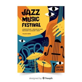Modèle d'affiche jazz abstraite dessiné à la main