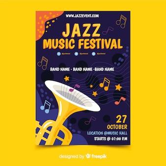 Modèle d'affiche jazz dessiné main abstraite