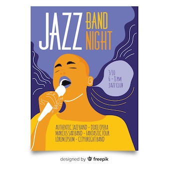 Modèle d'affiche jazz dessiné main abstraite