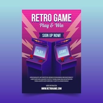 Modèle d'affiche de jeu rétro illustré