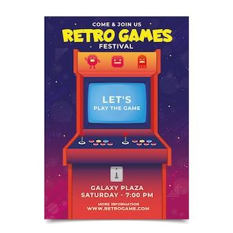 Modèle d'affiche de jeu rétro