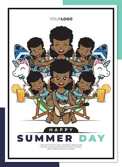 Modèle d'affiche de jour d'été heureux avec personnage de dessin animé mignon de fille noire sur la plage