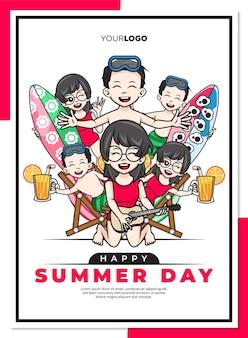Modèle d'affiche de jour d'été heureux avec personnage de dessin animé mignon