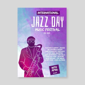 Modèle d'affiche de la journée internationale du jazz aquarelle